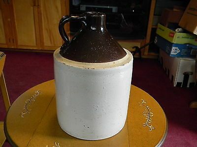 "Antique Stoneware Jug - traditional ""moonshine"" w/brown glaze top  L@@K! NoRsv"