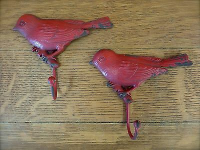 2 RED VINTAGE-STYLE DISTRESSED METAL BIRD HOOKS primitive decor wall kitchen