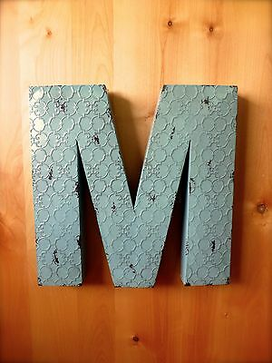 """INDUSTRIAL BLUE METAL WALL LETTER """"M"""" 20"""" TALL rustic vintage decor antique sign"""