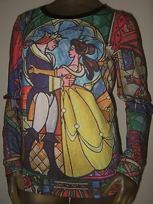 XXL Disney Belle Beauty And The Beast Stained Glass Rose Print Top Shirt Sweater