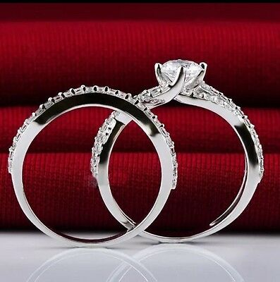 925 Sterling Silver Stackable Engagement Bridal wedding Simulated Diamond Ring 6