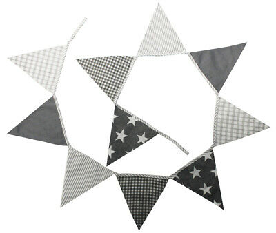 LACHLAN GREY COTTON BUNTING PARTY DECOR FLAGS PENNANT - 12 Flags **FREE DELIVERY