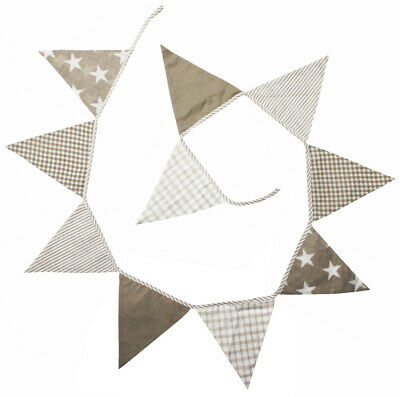 LACHLAN BEIGE COTTON BUNTING PARTY DECOR FLAGS PENNANT - 12 Flags *FREE DELIVERY