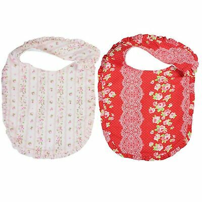 MILLIE PINK RED VINTAGE FRILL COTTON BABY INFANT BIB - Set of 2 **FREE DELIVERY*