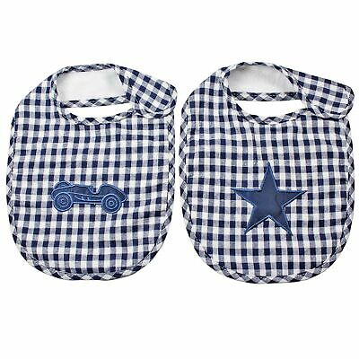 LACHLAN STAR BLUE VINTAGE COTTON BABY INFANT BIB - Set of 2 **FREE DELIVERY**