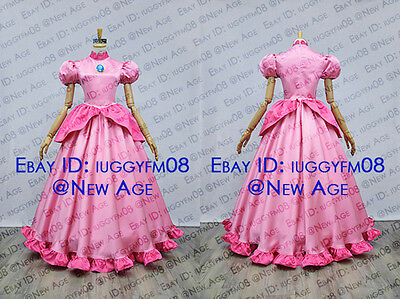 Super Mario Princess Peach Pink Dress Cosplay Costume Outfit