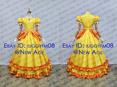 Super Mario Princess Daisy Yellow Dress Cosplay Costume Outfit