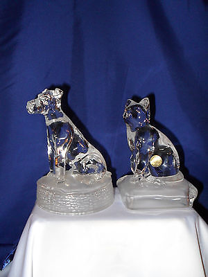 Crystal D Arques Dog/Cat Figurines