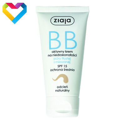 ZIAJA BB FACE CREAM FOR OILY AND MIXED SKIN SPF 15 - NATURAL SHADE - 01222 50ml