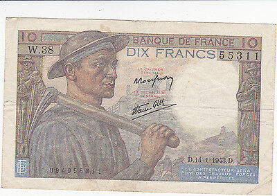Banque De France Bank Note -14 1 1943 d  10 Francs Dix Francs