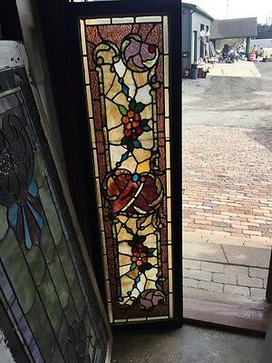 Sg 462 Antique Victorian Floral And Jeweled Transom Stainglass Window