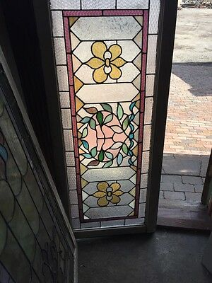Sg 466 Antique Transom Glass Window Floral Pattern Good Original Condition