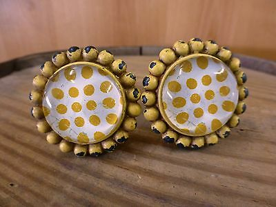 2 YELLOW SUNFLOWER GLASS DRAWER CABINET PULLS KNOBS VINTAGE chic child hardware