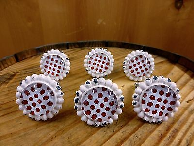 6 WHITE RED DOT FLOWER GLASS DRAWER CABINET PULLS KNOBS VINTAGE chic hardware