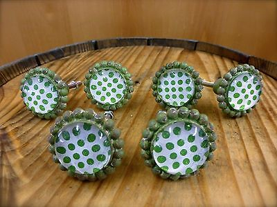 6 GREEN SUN FLOWER GLASS DRAWER CABINET PULLS KNOBS VINTAGE chic garden hardware
