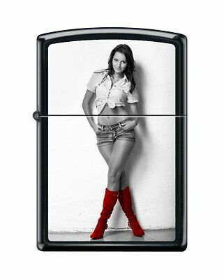 Zippo 6467, Cowgirl-Red Shoes, Black Matte Finish Lighter, Full Size