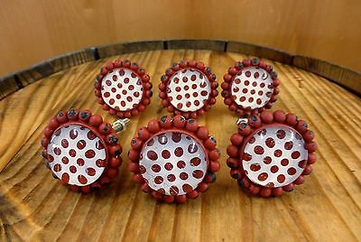 6 RED SUN FLOWER GLASS DRAWER CABINET PULLS KNOBS VINTAGE chic garden hardware