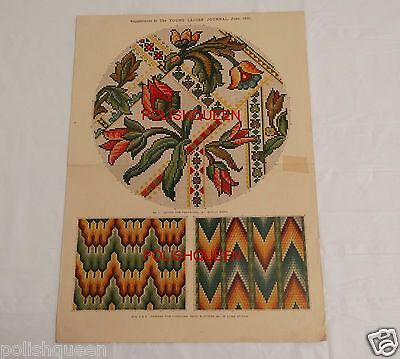 ANTIQUE 1891 BERLIN WORK NEEDLEPOINT TAPESTRY PATTERN for FOOTSTOOL FLAME STITCH
