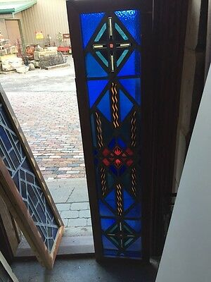 Sg 486 Antique Painted In Fired Stained Glass Transom Window Firecracker Center