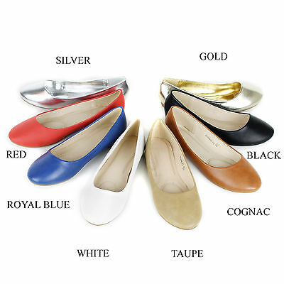 New Womens Cute Casual Comfort Slip On Round Toe Ballet PU Leather Flat Shoes