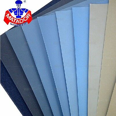 "MATADOR Wet / Dry SANDPAPER Made in Germany  3.5"" X 9""400 - 7000 Grit"