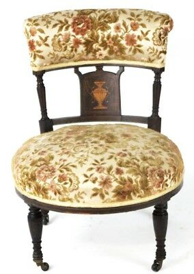 Edwardian Marquetry Inlaid Mahogany Desk Chair - FREE Delivery [PL1962]