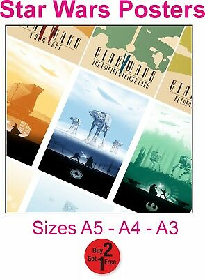 A3 or A4 Size STAR WARS Movie Posters * Minimal Vintage Wall Art Retro