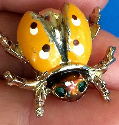 Vintage Antique Gold Lady Bug Hand Painted Green Eyes Mustard Enamel Pin Brooch