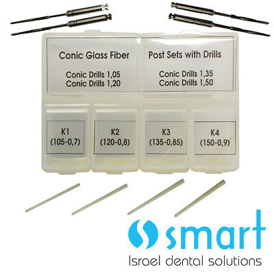 Dental Conical Glass Fiber Post Set 40 pcs with installation 4 drills endodontic