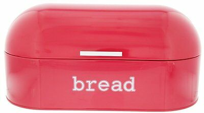 Red Pink Salmon Bread Box Vintage Curve Top Swing Lid Anti Mold Fresh Storage