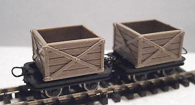Roco 34603 - Narrow Gauge H0e/009 Planked Crate Wagon Set (2 Wagons) - T48 Post