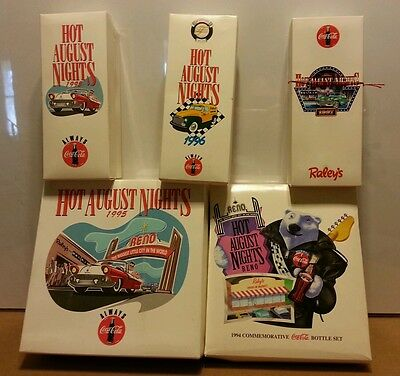 RARE 1994 95 96 97 Coca Cola - Hot August Nights - Reno, Glass & Bottles LOT
