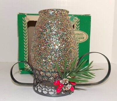 Vintage E.F.Laurence Hurricane Candle Silver Multi Color Glitter Bayberry
