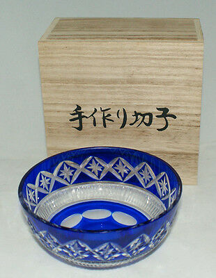 Japanese Traditional Cutglass Bowl handed down from the Edo period #90