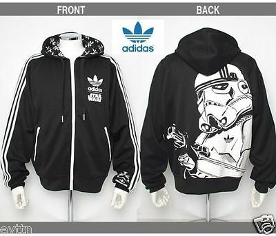 %adidas Star Wars Stormtrooper Black White Hoodie Hooded Jacket L Xl