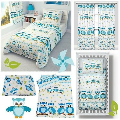 Cot Bed Duvet cover+Pillowcase/Curtains - Baby/Toddler/Junior BLUE OWLS