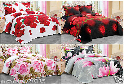 3D 3PCS Quilted Floral bedspread bed spread + 2 Pillow Cases Throw Floral