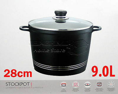 28Cm Die Cast Non Stick Deep Induction Stock Stew Pot Casserole Glass Lid Black