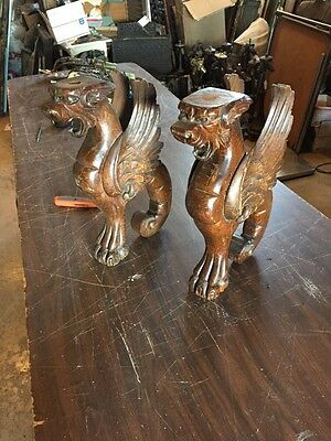 Matched Pair All Oak Winged Griffins Or Gargoyle Carved Antique