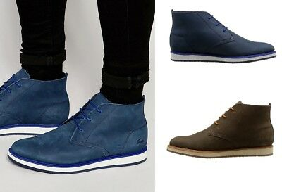 783f20b1e MEN S LACOSTE MILLARD Chukka Boots Brown Blue Leather Ankle Boots ...