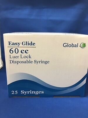 (50) - Easy Glide 60cc /60ML LUER LOCK Disposable Syringes - NO NEEDLE -Sterile