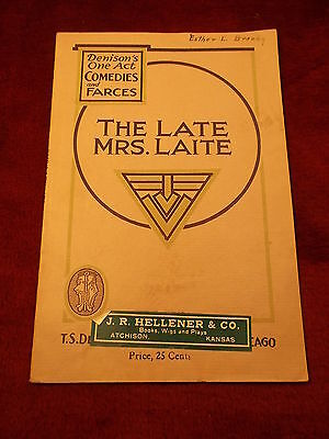 "Rare Old Vtg Antique 1929 Playbill ""the Late Mrs. Laite, A One-Act Farce"", Vgc"