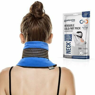Large Reusable Hot Cold Heat Ice Gel Pack Wrap Support for Neck Pain Relief