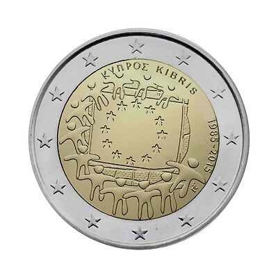 "Cyprus 2 Euro commemorative coin 2015 ""30 Years of EU Flag"" UNC"
