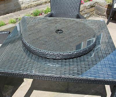 Outdoor Garden Table Furniture Lazy Susan Rattan Accessories Black Brown