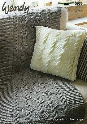 WENDY 5955 - ARAN CUSHION & THROW KNITTING PATTERN -not the finished garments