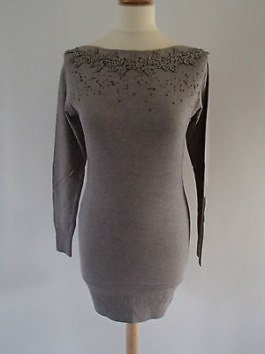 Robe tube 36/38 manches longues strass marron clair laine cachemire C72 ladydjou