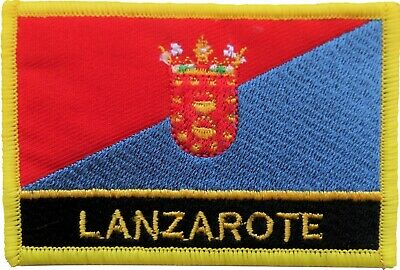 Spain Canary Islands Lanzarote Flag Embroidered Patch Badge - Sew or Iron on