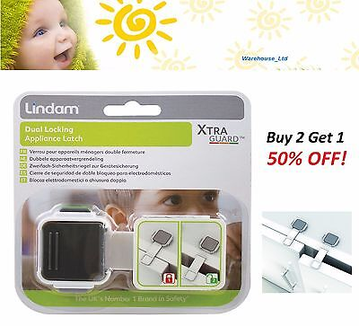 Lindam Xtra Guard Dual Locking Appliance Latch Double Lock Baby Safety Latch
