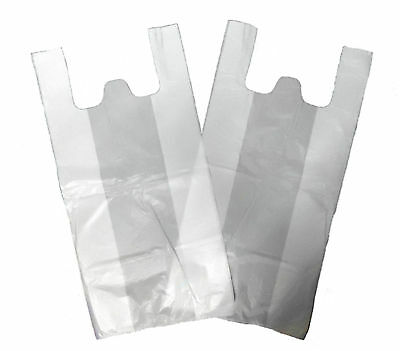 "White Plastic Vest Carrier Bags GIANT XXL Supermarket Style 16""x25""x29"" 22Micron"